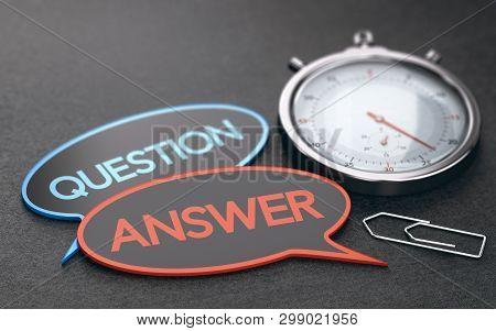 Stopwatch Over Black Background With Speech Bubbles With The Words Question And Answer. Concept Of C