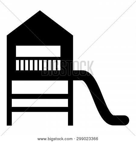 Playground Slide Children's Slide Kids Playground Children's Town With Slide Icon Black Color Vector