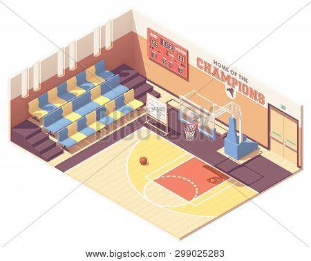 Vector Isometric School, College Or University Gymnasium Basketball Court Interior Cross-section. Ro