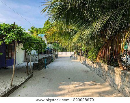 Empty Street In Traditional Maldivian Village