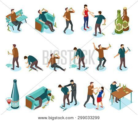 Alcoholism Dependance Features Symptoms People Isometric Icons Set With Wine Bottles Drinking Domest