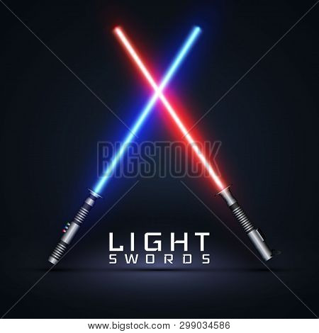 Neon Light Swords. Crossed Light Sabers Isolated On Darck Background. Vector Illustration.