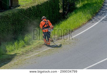 a city worker clearing the roadside of grass and weeds with a weed eater poster