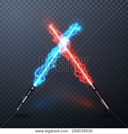 Neon Electric Light Swords. Crossed Light Sabers Isolated On Transparent Background. Vector Illustra