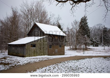 Old Cabin Delaurier Homestead Overcast Cold Winter Scene Snow Ice