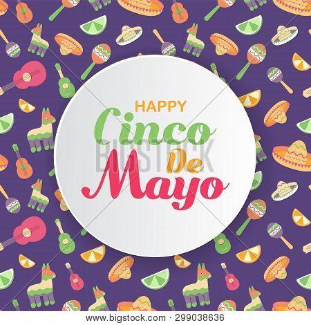 Cinco De Mayo Mexican Festive Banner. Horizontal Card Of Mexican Culture Symbols Collection Maracas,