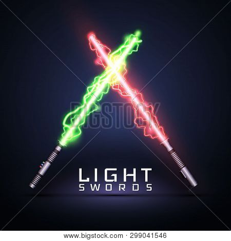 Neon Electric Light Swords. Crossed Light Sabers Isolated On Darck Background. Vector Illustration.