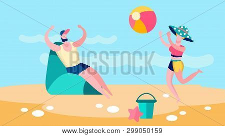Man And Woman Playing Ballgame Flat Illustration. Married Couple, Friends Enjoy Beach Volleyball. Su