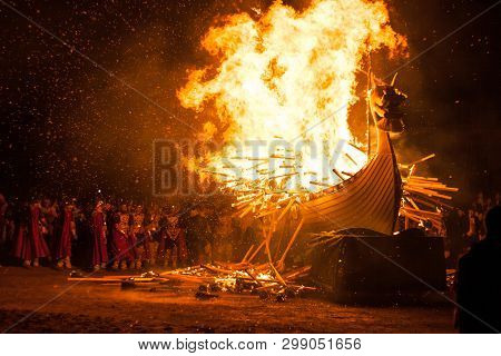 Up Helly Aa Burning Galley Ship. Climax Of The Viking Fire Festival Unique To The Shetland Isles, No