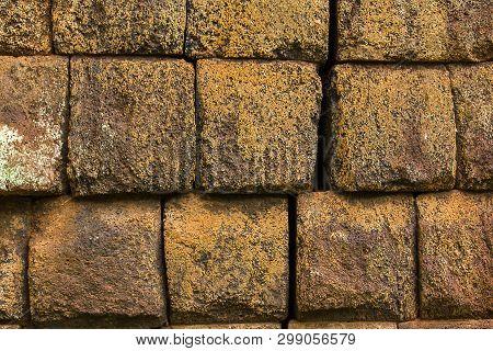 Laterite Bricks In The Old Castle Of Cambodia