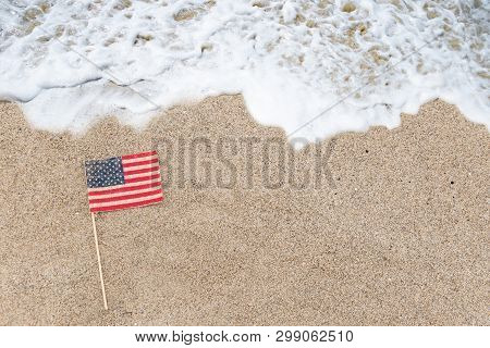 Patriotic Usa Background With Flag On The Sandy Beach
