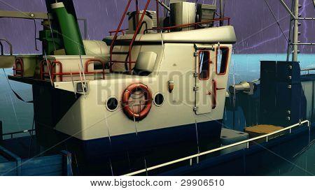 Barco de pesca na tempestade