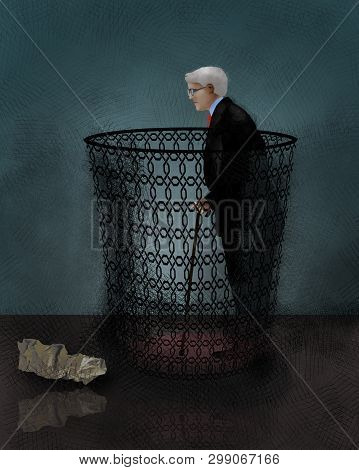 An Older Man With Grey Hair And A Cane Is Seen Inside A Wastebasket In This Illustration About The R