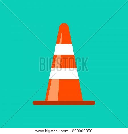 Traffic Cone Danger Attention Transportation Boundary Red Control Traffic Vector Icon. Accident Haza