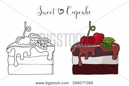 Vector Isolated Cake Or Cupcake, Dessert With Berry