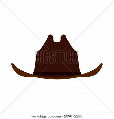 Cowboy Hat Brown Front View Icon. Person Male Traditional Farmer Clothes Western Rodeo Sheriff Silho