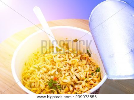 Instant Noodle. Noodle Soup In A Cup, View From Above. Instant Noodles Are Sold In A Precooked And D