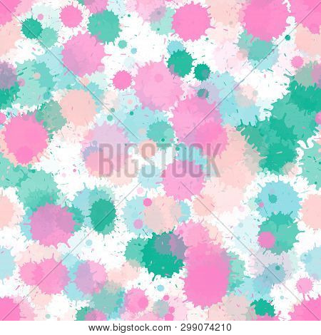 Watercolor Paint Transparent Stains Vector Seamless Wallpaper Pattern. Colored Ink Splatter, Spray B