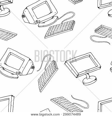 Vector Illustration Of Old And New Monitors. Keyboard With An Lcd Monitor. Hand Drawn Crt Monitor. S