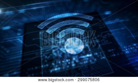 Wifi Hologram Icon Abstract Concept. Wireless Communication And Hotspot Symbol Over Working Cpu In B