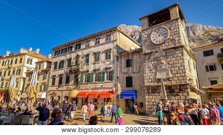 Kotor, Montenegro - October 28th: Medieval Clock Tower In The Main Town Square Of Kotor, Montenegro