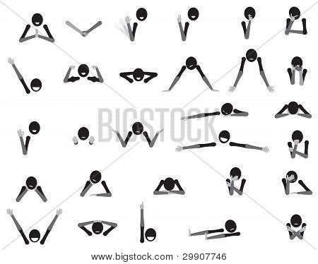 Body language cartoon symbols showing various gestures and emtions expressed in different situations. poster