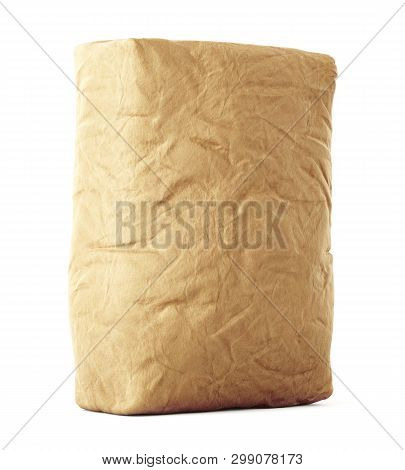 Blank Brown Craft Paper Bag Isolated On White Background. 3d Illustration