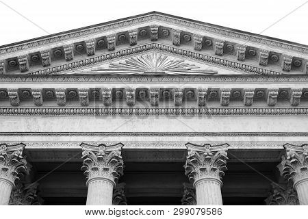 Pediment Of St. Isaac Cathedral In Saint Petersburg, Russia. Black And White.