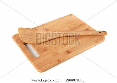 Wooden Kitchen Board And Spatula Isolated On White Background