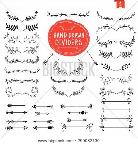Hand Drawn Dividers. Line Design Elements Vintage Borders. Calligraphic Ornate Decoration. Retro Div
