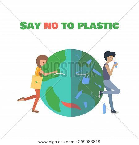 Nice Girl With Eco Bag Hugs The Planet. The Bad Guy Is Drinking From The Plastic Strow And  Plastic