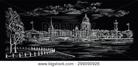 Cityscape Of Embankment  And Bridge Across Neva River In St. Petersburg, Russia. View On Spit Of Vas