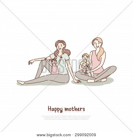 Happy mothers with children at yoga class, son sitting in mom lap, mommy spending time with kid banner template. Motherhood, parenthood, babysitting concept cartoon sketch. Flat vector illustration poster