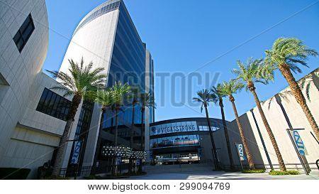 Las Vegas,nv/usa - Sep17, 2018: Zappos`s Building At Downtown Las Vegas.facade Of Las Vegas City Hal