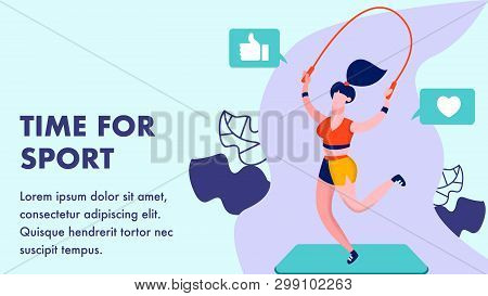 Time For Sport, Gym Flat Banner Vector Template. Fitness Coach Jumping Skipping Rope Cartoon Charact