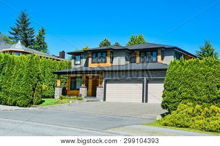 Brand New Residential House With Landscaped Front Yard In Suburban Of Vancouver. Stylish Suburban Ho