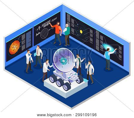 Astrophysics Research Center Interior  Isometric Composition With Scientists Preparing For Mobile Ra