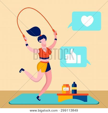 Sport Blog, Fitness Online Channel Illustration. Sportswoman Working Out Cartoon Character. Fitness