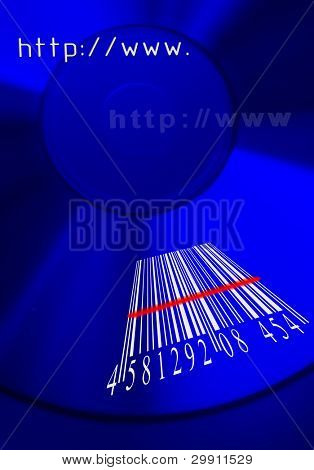 shopping online, a barcode on a cd