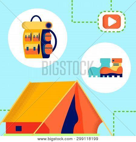 Tourism, Camping Internet Blog Vector Illustration. Hiking Accessories On Blue Background. Knapsack,