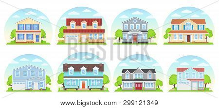 House Exterior. Vector. Home Building Front View. Facade Of Modern Cottage. Landscape Of Residential