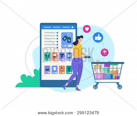 Online Shopping. Young Woman With Trolley. Huge Smartphone With Online Shop Application. Icons Flyin