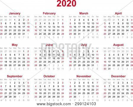 2020 Yearly Calendar - 12 Months Yearly Calendar Set In 2020 - Set Of Calendar Year 2020 - Calendar