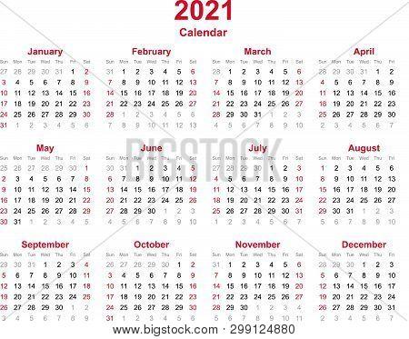 2021 Yearly Calendar - 12 Months Yearly Calendar Set In 2021 - Set Of Calendar Year 2021 - Calendar