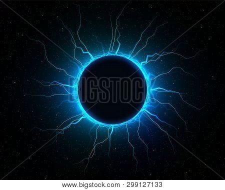 Electric Lightning Ball. Energy Light Thunder, Vector Illustration