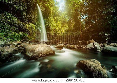 Sendang Gile Waterfall Is A Stunning Waterfall On Lombok, Indonesia. Long Exposure Photography.