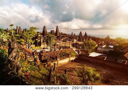 Pura Besakih Temple View From Rear.the  Largest Hindu Temple Of Bali, Indonesia.