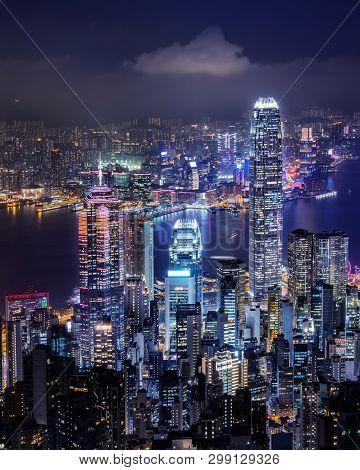 Hong Kong Skyline On The Evening Seen From Victoria Peak, Hong Kong, China.