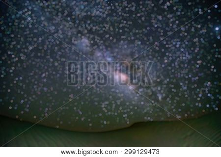Out Of Focus Of Milky Way Galaxy At Tar Desert, Jaisalmer, India. Astro Photography.