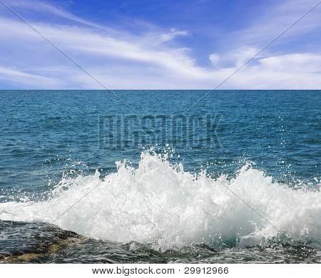 splashing sea waves on a bright day